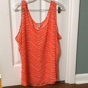 Orange Patterned Tank Top